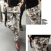 2013 new mens party pants men long pants trousers leopard fashion unique design print gradient leopard print skinny pants
