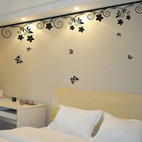 3pcs/Lot 100cm x 22cm Romantic Waistline Flower Wardrobe Vines Wall Stickers With Butterfly Home Decoration Total 3 Meters