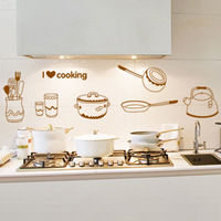 Kitchen Cabinet Stickers Pots and Pans DIY Wall Stickers Personalized Tile Stickers Waterproof  and Removable More Colors