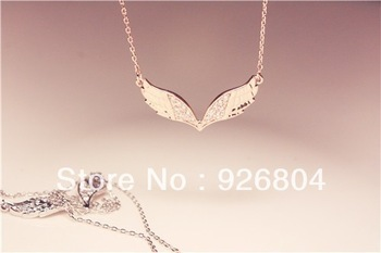 Hot sale high quality zircon Rose gold and platinum wing necklace export to Korea free shipping