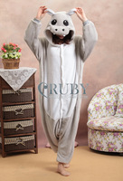 Promotion!Grey Hippo New Adult Unisex Onesies Kigurumi Women Pajamas Cosplay Japan Costume Cute Cartoon Animal Pyjama For Adults