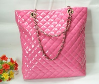 Fashion women's bags chain type sweet pink japanned leather shoulder bag sewing thread dimond plaid handbag