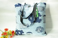 Fashion women's bags light blue letter print thick canvas bag shoulder bag ol work bag