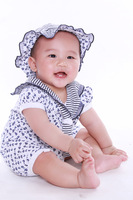 Aykta female child one piece romper stripe navy suit cap two-color romper