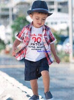 Risunnybaby cloth Aykta spring plaid shirt denim shorts piece set casual child set
