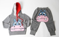 Risunnybaby cloth Sports casual set 2014 children's clothing animal style sweatshirt children set