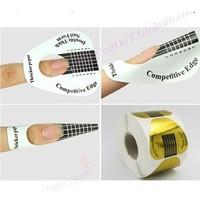 3X500pcs/roll horseshoes nail form Crystal ostracum nail art gold paper tray refers to the care nail art tools nail art supplies