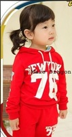 Risunnybaby cloth 2014 children's clothing two-color ldquo . 76 rdquo . sweatshirt set twinset 2014 high quality