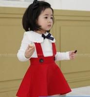 High quality preppy style white t red braces skirt NISHIMATSUYA 2014 autumn