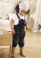 Child summer clothing female single breasted denim bib pants twinset