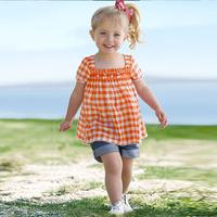 Risunnybaby Aykta children's clothing female summer new arrival sweet cute plaid shirt jeans twinset