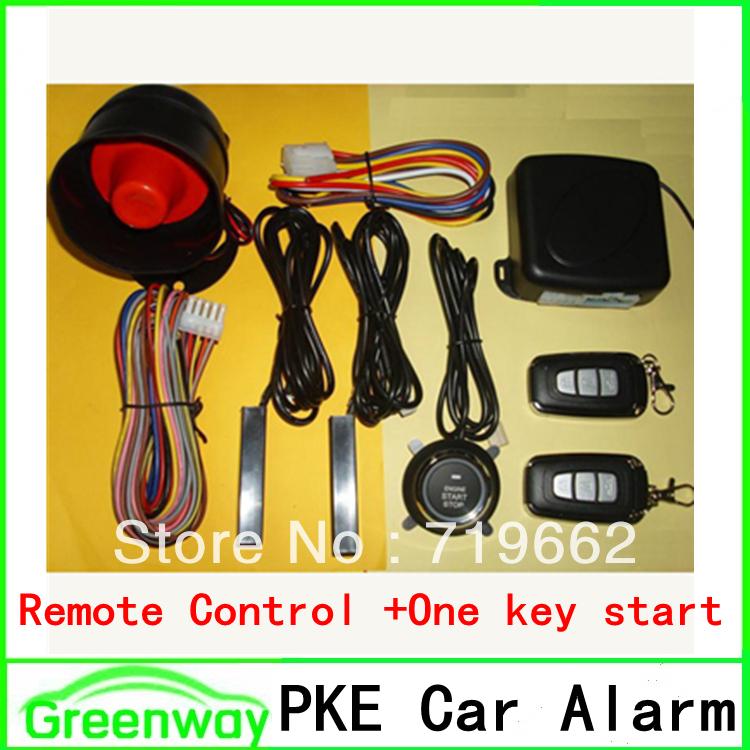 Hot PKE car alarm system One key start finger touch start/stop push start remote start/stop auto lock/unlock big sound siren(China (Mainland))