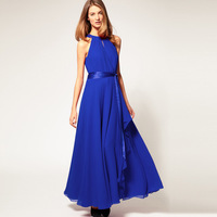 Hot sale! Free shipping 2014 retro big irregular skirt  dress,off shoulder sleeveless floor-length dress