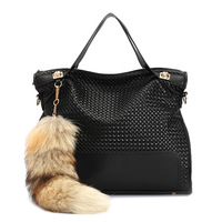 Fashion Designer High Quality Genuine Leather Women Handbags Cowhide Leather Fox Fur Tassel Bags Rivet Shoulder Women Handbags