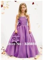 Free shipping Hot Sale Spaghetti Straps Cheap Purple Flower Girl dress For Wedding 2013 Custom Made