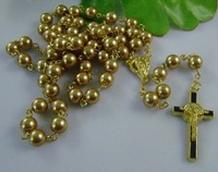 Cross rosary necklace glass pearl rosary necklace gold necklace