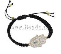 Free shipping!!!Hamsa Bracelets,Female Jewelry, Zinc Alloy, with Wax Cord, Hand, handmade, with resin rhinestone & enamel