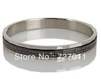Free Shipping (300pcs/lot) Stainless steel round bangles for fashion men enameled with cross and letters