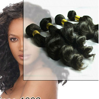 AAAAA 5  4pcs lot Peruvian virgin hair loose wave unprocessed human hair weaving.natural color 95-100g/bundle,DHL free shipping