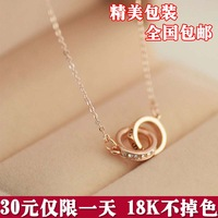 Elegant necklace female 18k gold chain titanium color gold colnmnaris gift