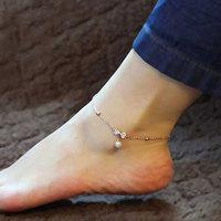Sparkling bow pearl anklet bracelet 18k color gold rose gold accessories gift