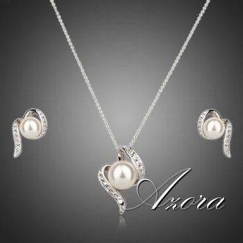 Азора платиновым покрытием Stellux австрийский хрусталь имитация перл стад серьги и ожерелье комплект TG0062