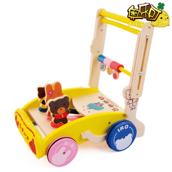 Cartoon child wooden toys trolley toddler walker adjustable baby