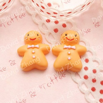 50pcs/lot Kawaii Gingerbread Man Cabochon phone case decoration