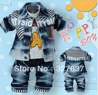 2013 spring models ramp of the denim three-piece suit 0-3 years old baby kids 3 set/lot free shipping