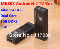 Original MK808 Mini PC RockChip RK3066 Dual Core Cortex-A9 1.6GHz 1GB+8GB Android4.2 HDD player google TV dongle free shipping