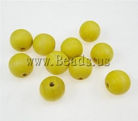 Free shipping!!!Wood Beads,Bulk Jewelry, Round, yellow, 14x15mm, Hole:Approx 4mm, 415PCs/Ba Sold By Bag