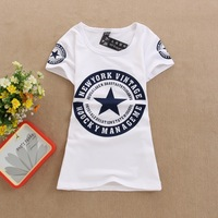 100% COTTON O-NECK SHORT SLEEVE T SHIRTS WITH LETTER PENTASTAR LADY PRINTED T-SHIRTS