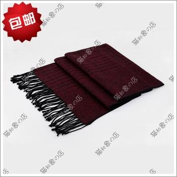 Autumn and winter gift male mulberry silk decorative pattern scarf silk muffler scarf claretred