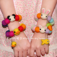 Fashion sweet candy color small fresh rabbit multicolour wool felt bracelet