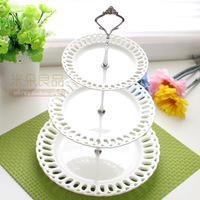 Fashion ceramic cake pan fruit plate cutout pattern decorative cake stand afternoon tea mug-up plate