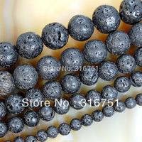 "Hot Sale Free Shipping 15""natural Black Volcanic Lava Stone Round Beads .5 6 8 10 12 14mm Pick Siz Aa"