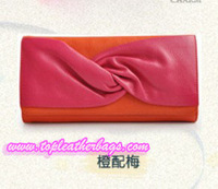 Pink and Orange Cowhide Clutch Bag with Metal Chain