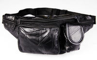 Large Black Genuine Leather Fanny Pack Waist Bag Travel Belt Hip Purse Mens  Top Quality Free Shipping