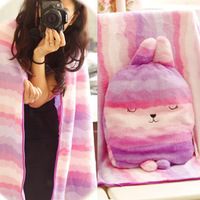Lilac rabbit plush toy cartoon rabbit doll air conditioning blanket spring and autumn blanket cushion birthday gift female