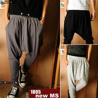 New! 2013 Korean Mens low crotch dance pants hip hop harem sweatpants drop crotch baggy pants loose harem dance long trousers