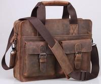 Rare Crazy Horse Leather Men's Briefcase Shoulder Laptop Bag handbag purse  Top Quality Free Shipping