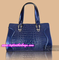 Dark Blue Crocodile Cowhide Tote Bag