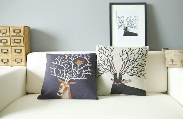 Venta al por mayor de árbol cuernos de cojines de algodón de lino 2 pc cubrir sofá y cubierta de almohadas almohada decorar cubierta de envío gratis!