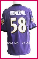 Baltimore 58 Elvis Dumervil Purple Black White Game Football Jerseys