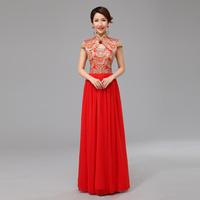 Long design red cheongsam fashion cheongsam wedding dress cheongsam dress summer the bride evening dress cheongsam