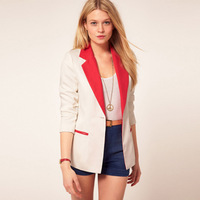 Free shipping 2013 autumn  fashion all-match elegant color block decoration long-sleeve slim female blazer,blazer women,S M L