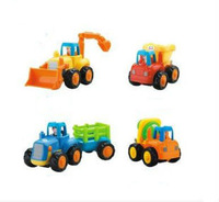 free shipping,Happy inertia truck toys, children tractor  mixer dumper truck,1 piece including 4 kind  car