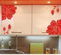 Kitchen Cabinet Wall Stickers Fashion Elegant Flower Manglers Wardrobe Decals Refrigerator Washing Machine Stickers