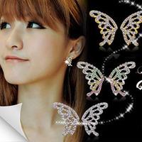 Accessories fashion Women austria crystal butterfly earrings stud earring female - papilionid a13