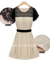 black lace patchwork diamond neck slim bow puff short sleeve ladies knee-length cute pleated dress new fashion